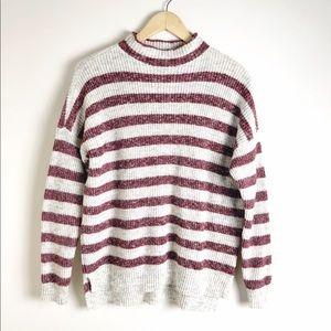 American Eagle Women's Striped Mock Neck Sweater